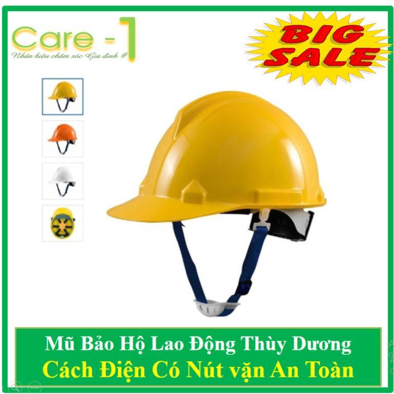Mũ Bảo Hộ Thùy Dương Cách Điện 3kv Có Nút Vặn An Toàn - Tặng Nút Tai Chống ồn