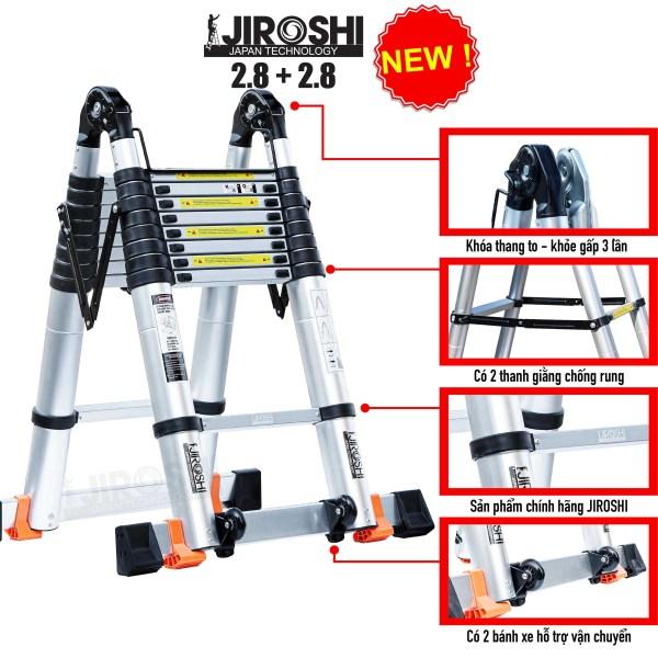 Thang Nhôm Rút Chữ A 2.8+2.8 mét JlROSHl Công nghệ Nhật Bản
