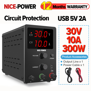 NICE-POWER Adjustable 0-30V 0-10A DC Power Supply 12V 15V 30V 10A Switching Plating Lab Power Supply,For electronic parts mobile phone maintenance, aging test, laboratory R-SPS3010 thumbnail