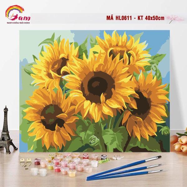 Tranh tô màu sơn dầu số hóa kỹ thuật số DIY Có khung - Mã HL0611 Hoa hướng dương Tranh Trang trí Sang trọng Làm quà tặng Giảm Stress