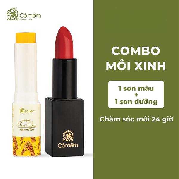 Bộ Chăm Sóc Môi Xinh - Combo Môi Xinh (Son Lụa + Son Dưỡng) Cỏ Mềm
