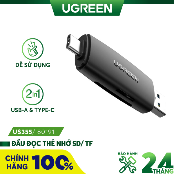 Bảng giá Đầu đọc thẻ nhớ SD/TF 2 trong 1 UGREEN 80191 USB-A & Type-C - Hàng chính hãng - Bảo hành 18 tháng Phong Vũ