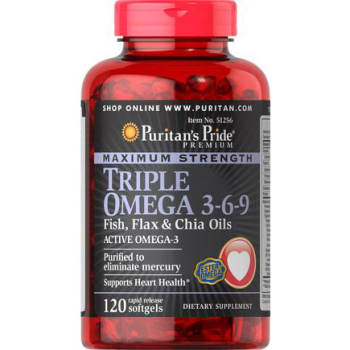 Puritan'S Pride Maximum Strength Triple Omega 3-6-9 Fish, Flax & Chia Oils 120 viên