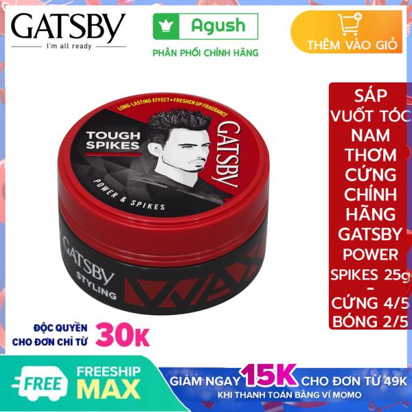 Sáp vuốt tóc nam mùi thơm cứng Gatsby chính hãng Styling Wax Power Spikes giá rẻ giữ nếp tạo kiểu Tough Spikes 25g bóng vuốt tóc ngắn khô không bết dính dạng sáp mềm gốc nước dễ rửa sạch hương hoa quả giá rẻ