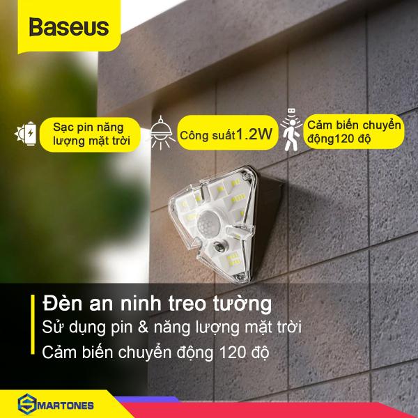 Đèn an ninh treo tường Baseus, sử dụng năng lượng mặt trời, chống nước IPX5 ,cảm biến chuyển động cợ thể giúp đảm bảo  an ninh