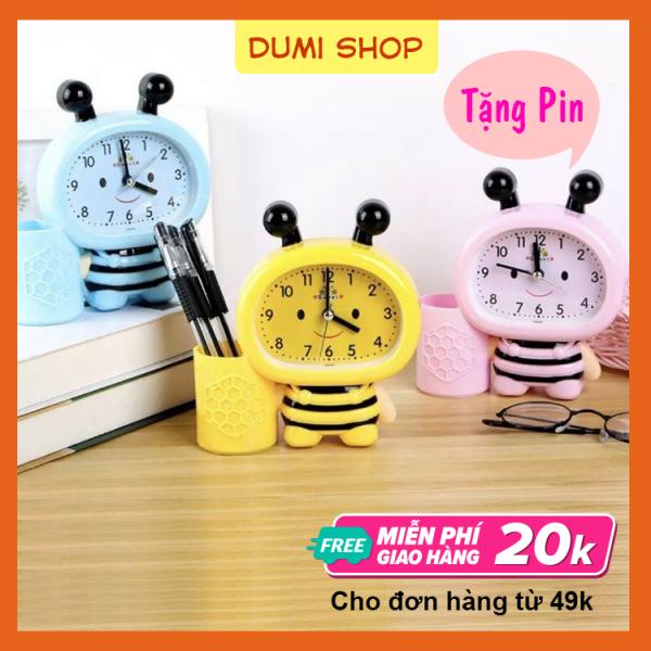 [TẶNG PIN] Đồng Hồ Báo Thức Hình Con Ong Cho Bé - Đồng Hồ Để Bàn Báo Thức Có Ống Đựng Viết Dễ Thương - Dumi Shop