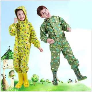 Áo mưa bộ trẻ em vải dù chống thấm nước cao cấp size số 4 cho trẻ từ 9 đến 11 tuổi - Áo mưa cho bé trai chống bụi bẩn - Quần áo đi mưa cho bé gái cute có nón - Bộ quần áo mưa dành cho trẻ em
