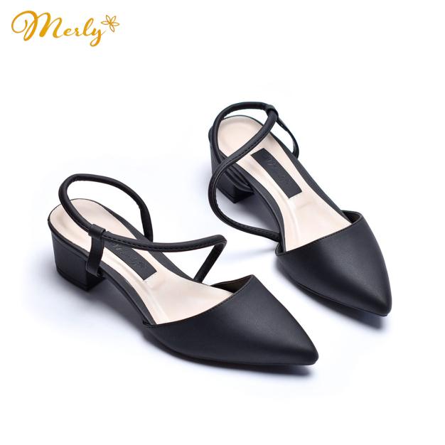 Giày sandal gót thấp họa tiết Merly 1047 giá rẻ