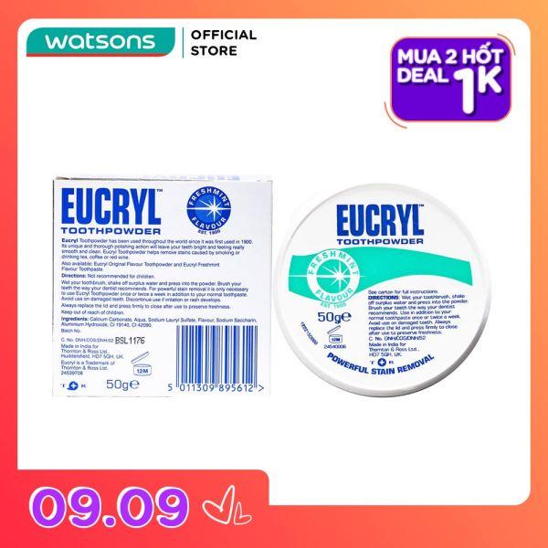 [1000 đ CHO SẢN PHẨM THỨ 2] Bột Đánh Răng Tẩy Trắng Eucryl Toothpowder 50g giá rẻ