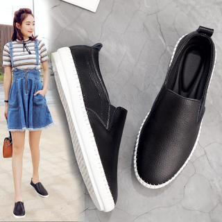Giày Trắng Da Thật Phong Cách Hàn Quốc Xuân Thu 2020 Giày Thường Ngày Dễ Phối Giày Nữ Cỡ Lớn Giày Lười Xỏ Chân Đế Bằng thumbnail