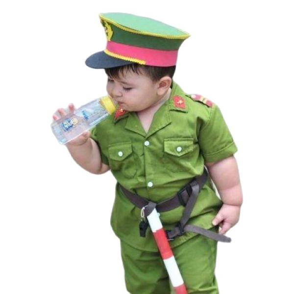 Bộ quần áo công an hình sự trẻ em đầy đủ phụ kiện