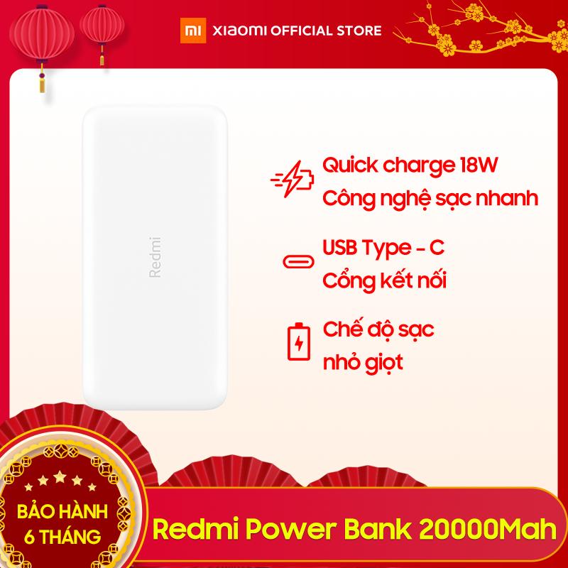 [XIAOMI OFFICIAL] Pin Sạc Dự Phòng Xiaomi Redmi Power Bank 20000 mAh- Sạc nhanh 18W - BH 6 Tháng