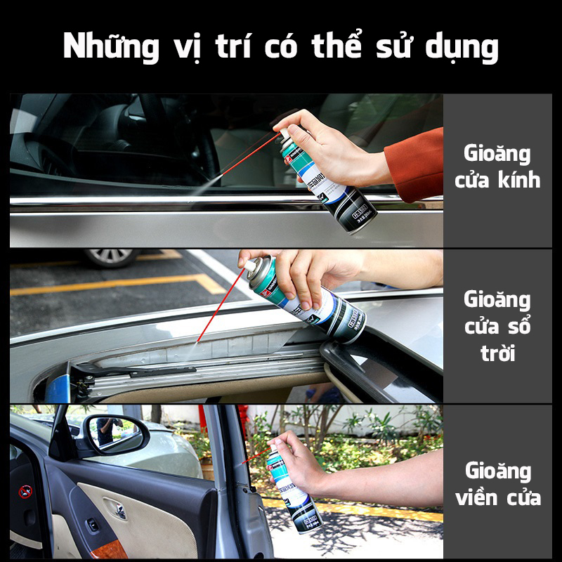 Chai xịt vệ sinh bảo dưỡng gioăng cao su bôi trơn các chi tiết trên ô tô Electric Vehicle Window Lubricant Haoshun H-1502 dung tích 268ml