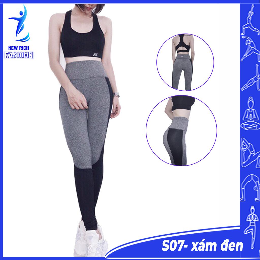 Đồ tập gym nữ thiết kế áo bra mút đệm, quần lưng cao, chất vải mềm mịn, co giãn 4 chiều, thấm hút mồ hôi tốt