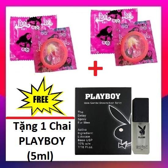 Bộ 2 Bao cao su Feel 4in1 (2Pcs) + Tặng 1 Chai xịt Playboy Chống xuất tinh sớm - Hãng phân phối chính thức