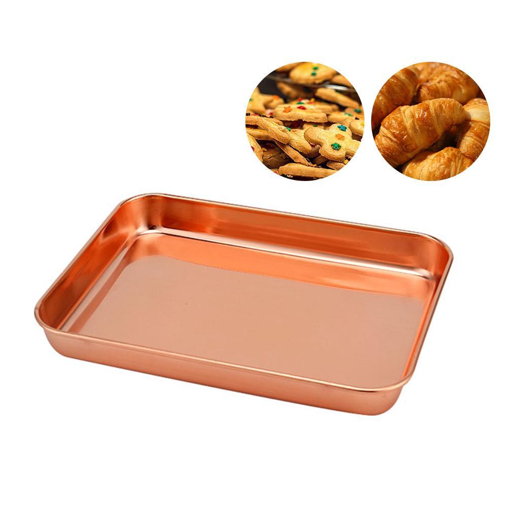 Chảo Nướng Hình Chữ Nhật Rose Gold Tấm Nướng Bằng Thép Không Gỉ Khay Nướng Bánh Quy Tấm Bánh Pan Máy Rửa Chén An Toàn BPA Miễn Phí Dễ Dàng Làm Sạch