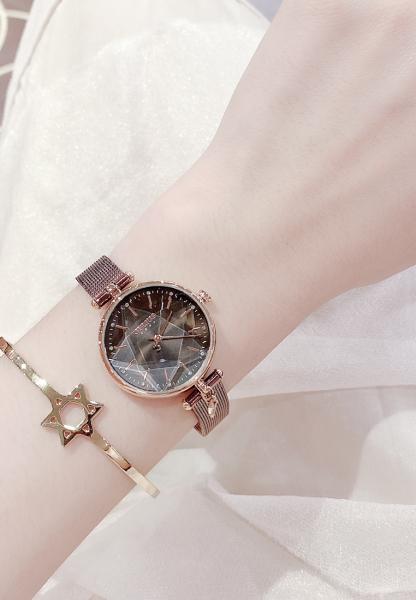 Đồng hồ nữ Julius Hàn Quốc JA-1145 lăng kính 3D dây thép (Chọn màu)