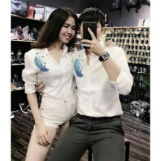 Combo 2 áo sơ mi cặp nam nữ trắng in họa tiết phong cách Hàn Quốc chất vải kaki lụa siêu đẹp hàng cao cấp mềm mịn mát không nhão Capricorn Shop SMC1007 thumbnail