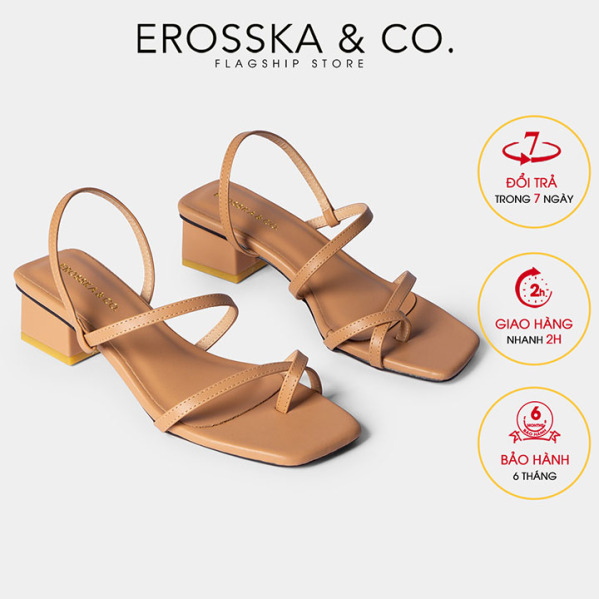 Giày sandal cao gót nữ Erosska kiểu dáng xỏ ngón dây mảnh thời trang cao 5cm EB024 (BR) giá rẻ