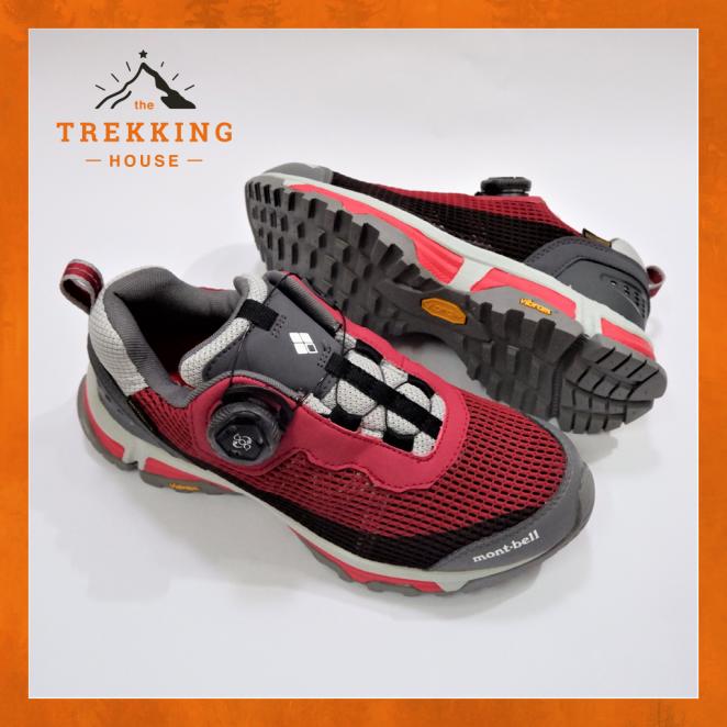 Giày leo núi trekking chống thấm nước Montbell Đỏ Xám, Giày phượt dã ngoại outdoor khóa Boa giá rẻ