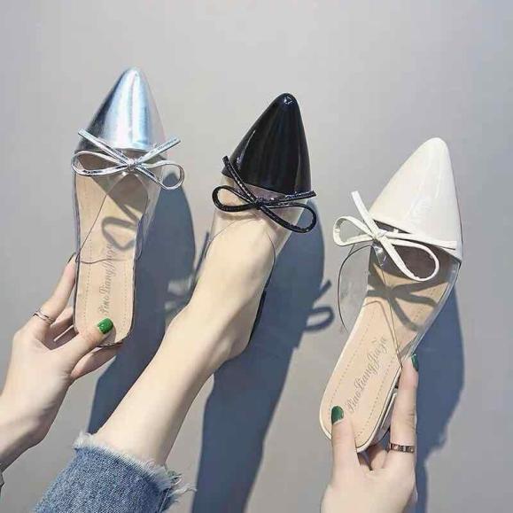 giày mũi đế cao nhọn thắt nơ phối mica siêu xinh 3cm giá rẻ