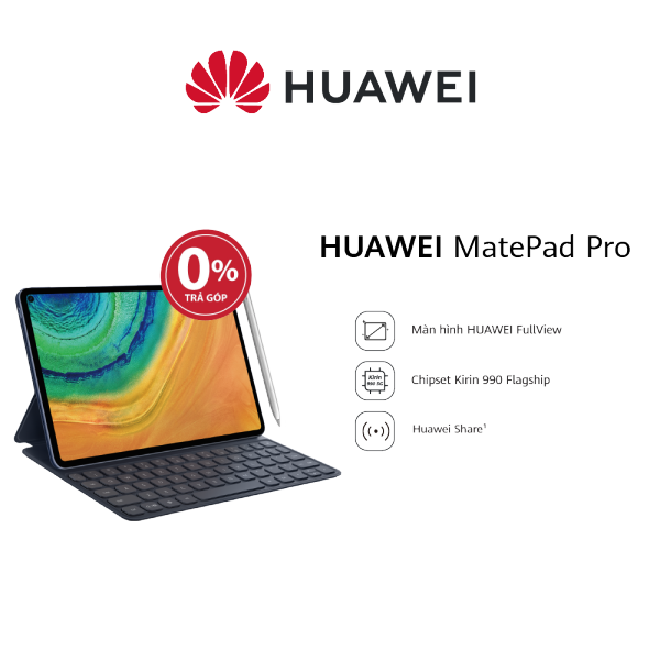 Máy tính bảng Huawei MatePad Pro (6GB/128GB)-Kèm bút cảm ứng Huawei M-Pencil và bàn phím Huawei Smart Magnetic-Chip Kirin 990-Hiệu ứng âm thanh Histen 6.0-Màn hình Huawei FullView 10.8 Inch-Dung lượng pin lớn 7,250 mAh-Hàng phân phối chính hãng