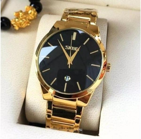 Đồng hồ nam Skmei dây thép không gỉ có lịch ngày chống nước + tặng kèm vòng tay tì hữu may mắn tài lộc và kèm pin dự phòng bán chạy