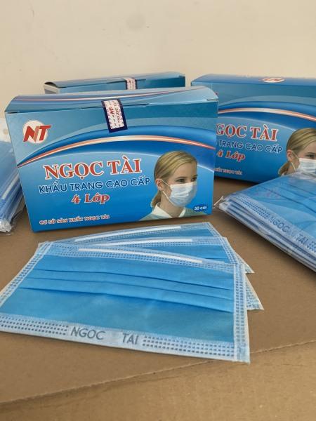 [Combo 4 hộp] Khẩu trang Ngọc Tài 4 lớp vải không dệt 4* 50 = 200 cái khẩu trang Y Tế kháng khuẩn hộp 50 cái Ngọc Tài