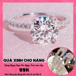 Nhẫn nữ, nhẫn nữ đẹp mạ vàng trắng, nhẫn kim cương, nhẫn hột đính đá pha lê Trang sức GADO N081 - Sang trọng, săn đón nhất năm, bảo hành 1 đổi 1 thumbnail