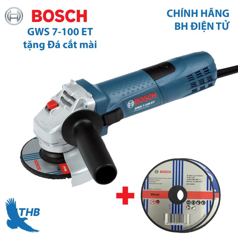 [TẶNG PHỤ KIỆN] Máy mài góc Bosch GWS 7-100 ET ( Tặng đá cắt mài) máy mỏng và mạnh mẽ vừa tầm tay