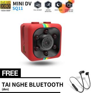 Với tai nghe từ tính XT11 miễn phí Camera mini sq11 siêu nhỏ bé hành trình xe máy phượt Camera hành trình full hd 1080p chống rung chống nước thumbnail