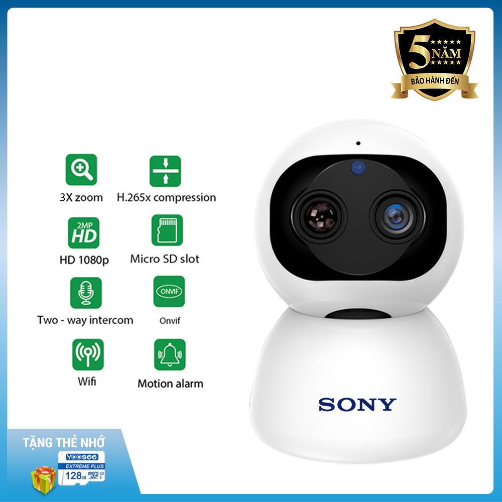 [Có combo hỗ trợ thẻ 128GB] Camera ip wifi Giám sát SONY ZOOM 10X FHD 4.0 MP trong nhà xoay 360, Hình ảnh sắc nét nhất,Cảnh báo chuyển động chống trộm tránh mất tài sản lớn - Bảo hành 5 năm