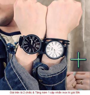 ( Tặng thêm 1 cặp nhẫn ) Đồng hồ cặp Unisex 2 kiểu số xem giờ - Giá bán trên là 2 chiếc như hình thumbnail