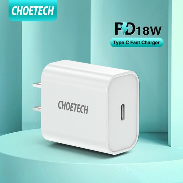 Bộ sạc USB C Choetech 18W, kích thước 1.6*2.3 inch, tương thích với  iPhone 11/11 Pro / 11 Pro Max / X / XS / XS Max / XR, iPad Pro, Galaxy Note 10 + / Note 10 / Note 9, Google Pixel 3/3 XL