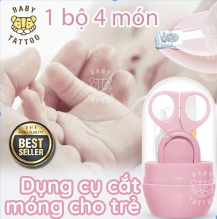 BABY TATTOO Bộ cắt móng tay cho bé 4 món gồm kéo bấm móng tay giũa móng tay kẹp nhựa thumbnail