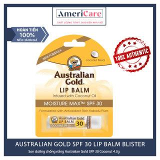 [Bill Mỹ] Son dưỡng môi AUSTRALIAN GOLD SPF 30 LIP BALM BLISTER - COCONUT thumbnail