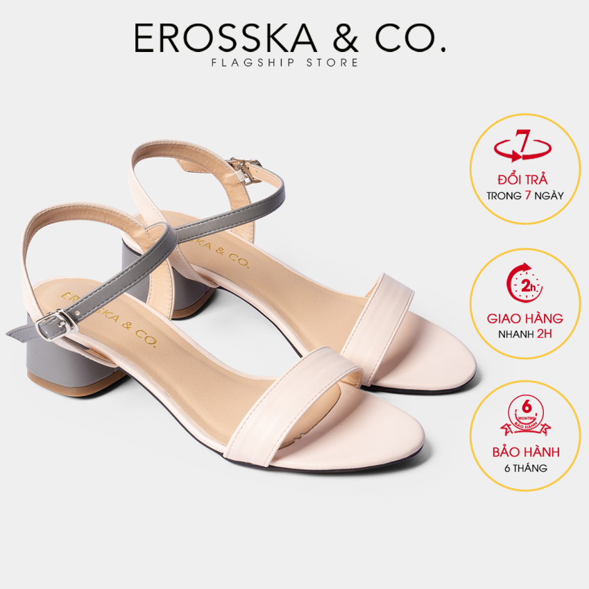 dép cao gót nữ 3p đi học Erosska mũi tròn phối dây nhiều màu tinh tế cao EB019 (GR) giá rẻ