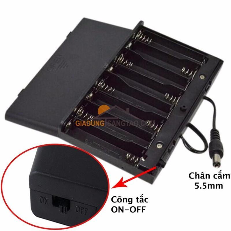 Hộp chuyển đổi 8 pin tiểu AA 1.5V ra điện áp 12V
