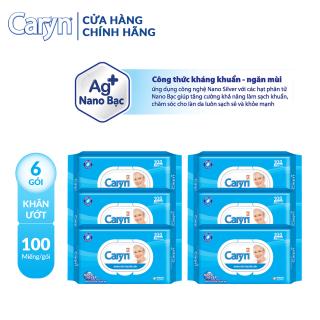 Combo 6 gói Khăn ươ t Caryn 100M gói thumbnail