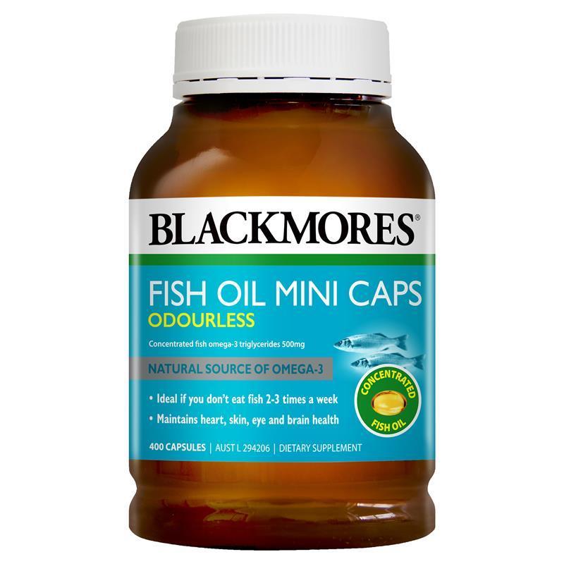 Dầu cá Blackmores Fish oil mini caps không mùi 400 viên