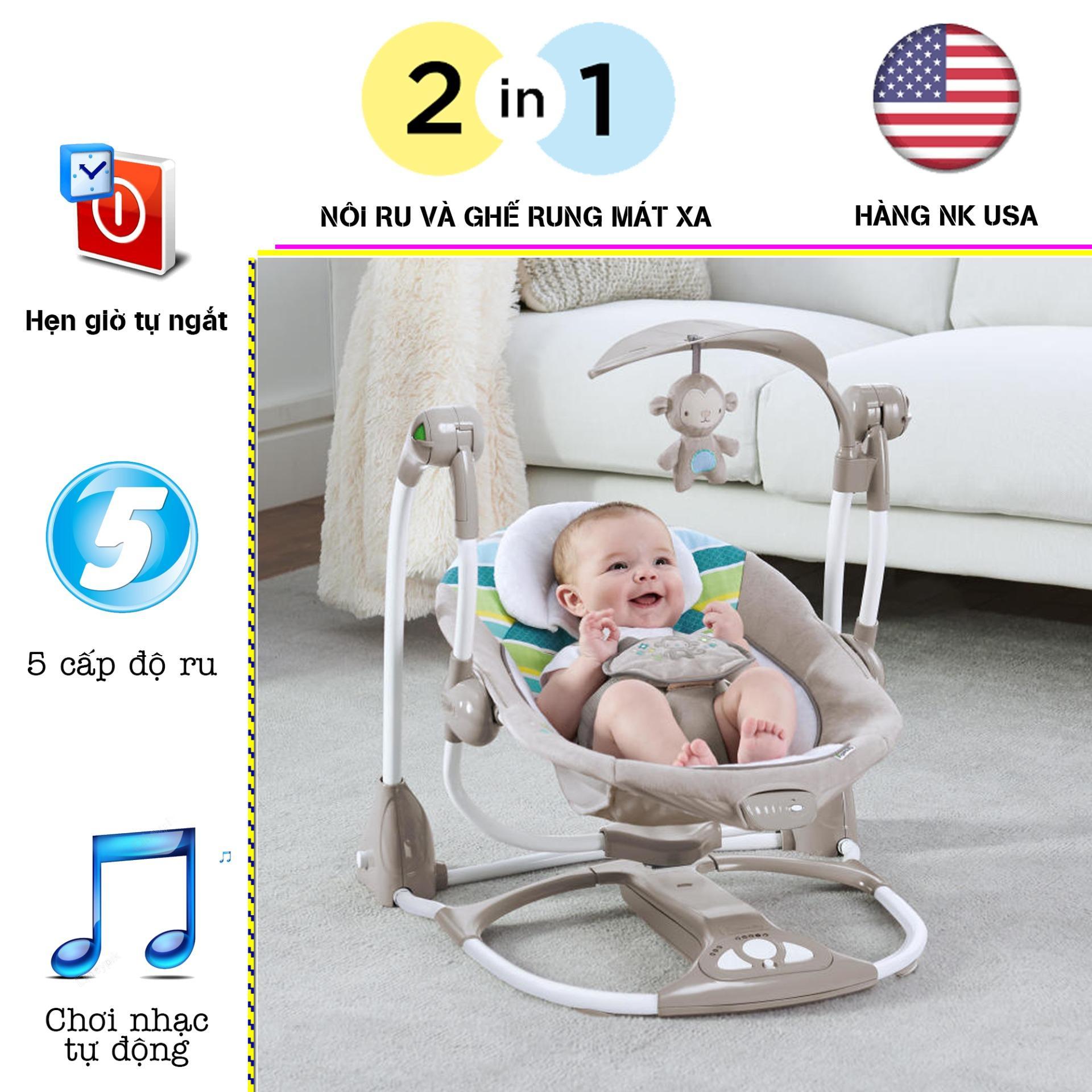 Nôi điện em bé,  nôi rung trẻ em, ghế rung em bé Ingenuity rung và đung đưa tự động hàng nhập khẩu của Mỹ an toàn giúp bé thư giản và ngủ ngon Nhật Bản