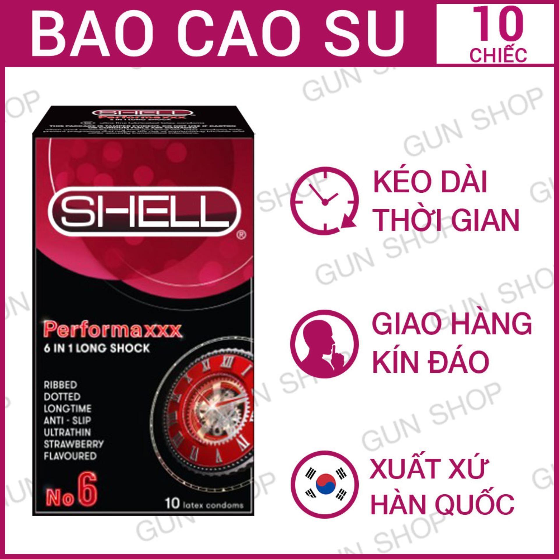 Hộp [10 Chiếc] Bao Cao Su cao cấp Hàn Quốc Shell Premium 6 In 1 - Kéo dài thời gian - GunshopBCS
