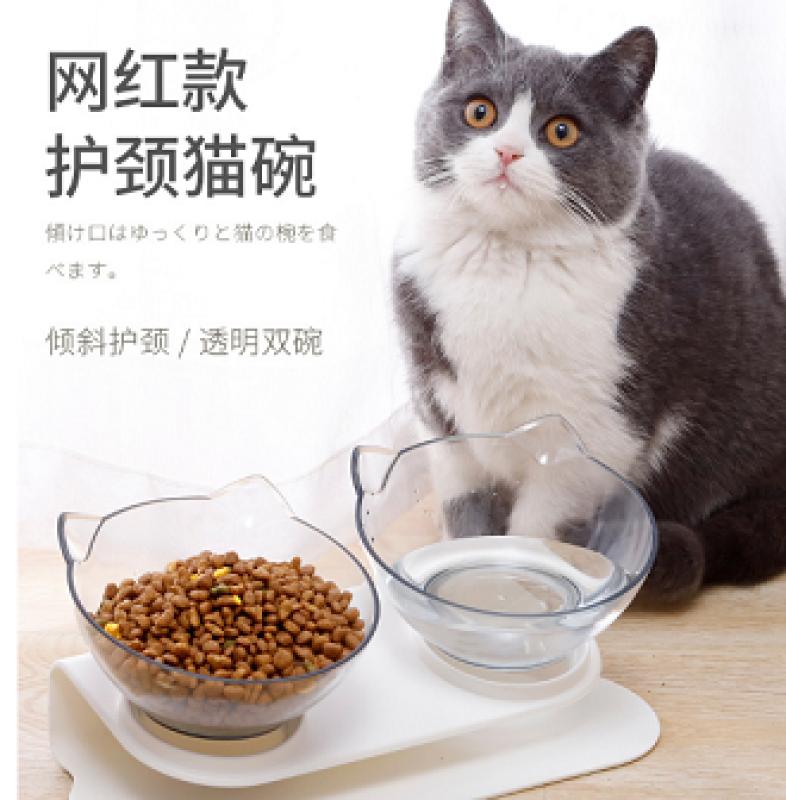 Bát ăn uống đôi trong suốt cho chó mèo