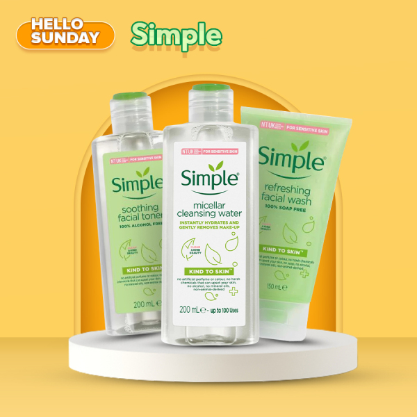 Combo Simple 3 món: Tẩy Trang Micellar Cleansing Water 200ml + Sữa Rửa Mặt Refreshing Facial Wash 150ml + Nước Hoa Hồng Soothing Facial Toner 200ml cao cấp