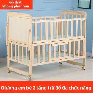 giường em bé gỗ mộc đa chức năng nhiều tầng nôi em bé không phun sơn có thể di động Redepshop thumbnail