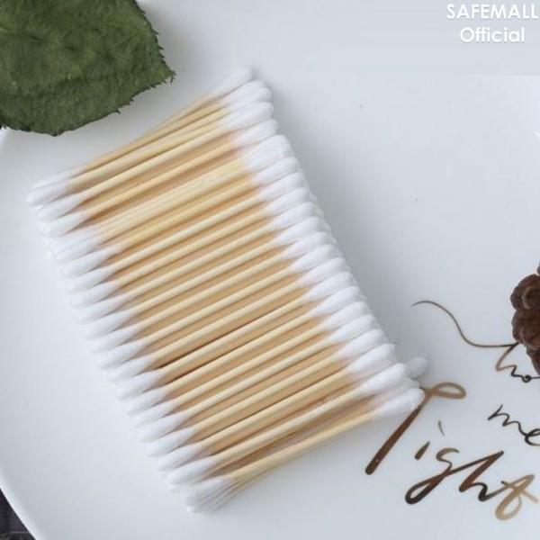 Combo 5 Gói (tổng 500 Que) Tăm Bông Ráy Tai Safemall thân Gỗ cao cấp 100% Natural Cotton  an toàn thân thiện với môi trường đa công dụng - Hàng Việt Nam Xuất Khẩu cao cấp