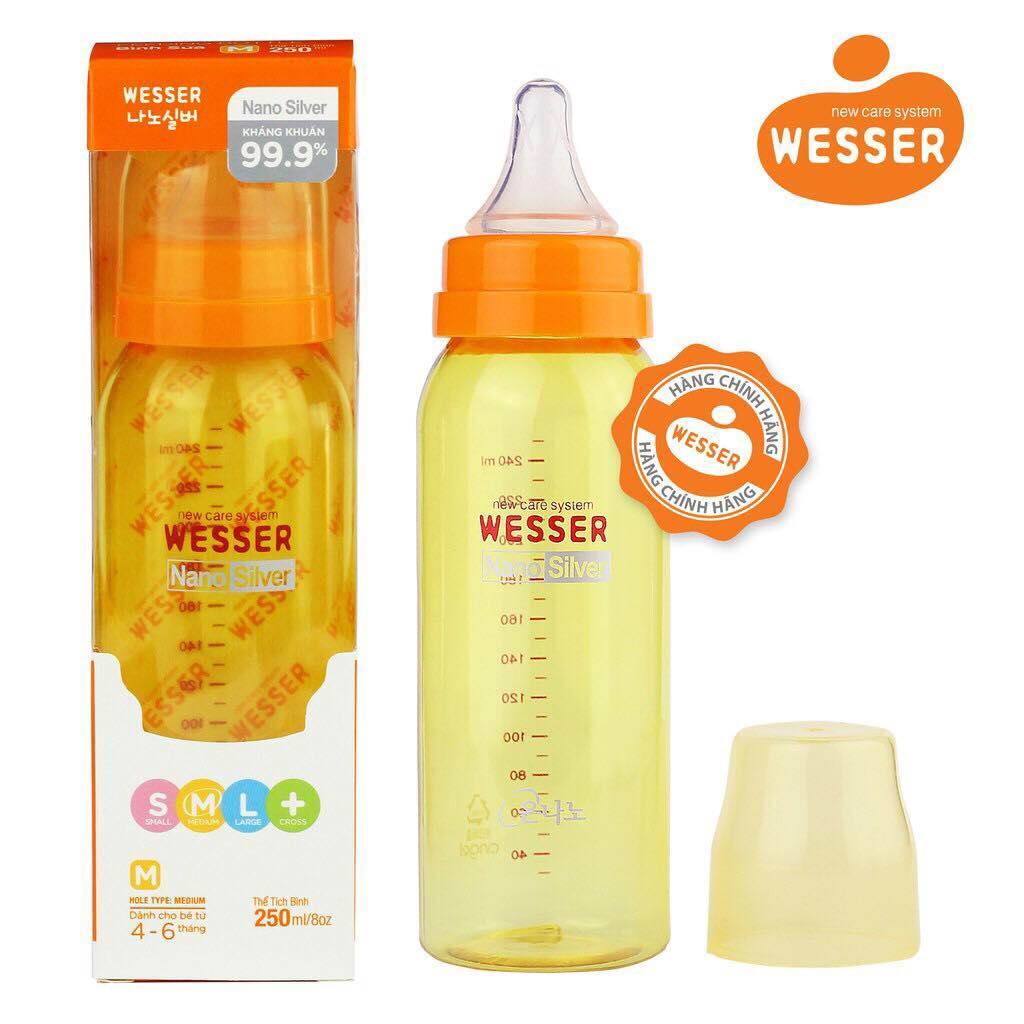 Bình Sữa Wesser Nano Silver Cổ Hẹp 250ml