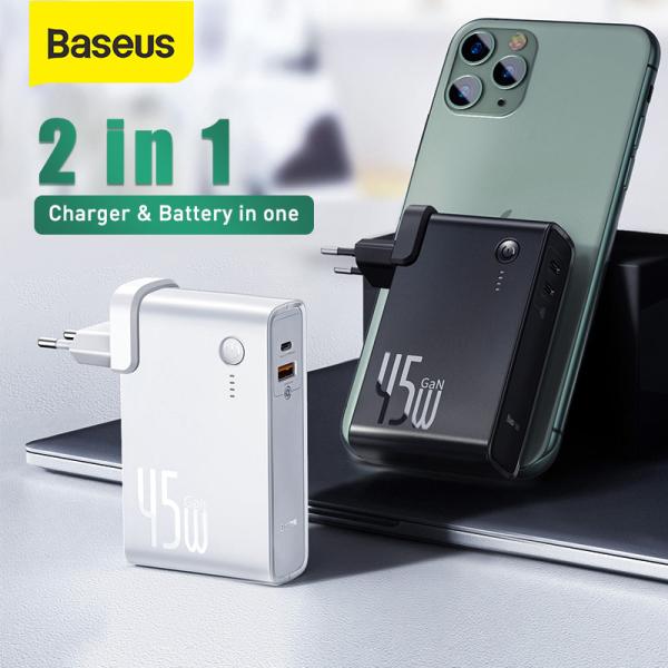 BASEUS Chính Hãng | Bộ sạc Baseus GaN 2 trong 1 - Cốc Sạc Nhanh đồng thời là Sạc Dự Phòng kèm dây Type C, Sạc Dự Phòng GaN 10000mAh 45W Cổng USB Type C cho iPhone 12 Pro Laptop Samsung Xiaomi, Đầu cắm điện quy cách EU