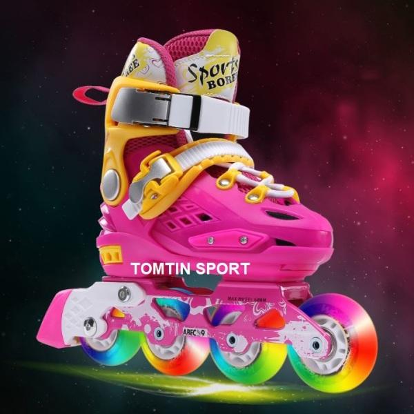 Giá bán Giày trượt patin trẻ em tặng kèm bảo hộ chân tay, Giày patin Sport Boree cao cấp 8 bánh cao su phát sáng trượt mượt êm và có độ trớn cao, khung càng chắc chắn giúp trượt kỹ thuật khó, có màu cho bé trai và bé gái [TOMTIN SPORT]
