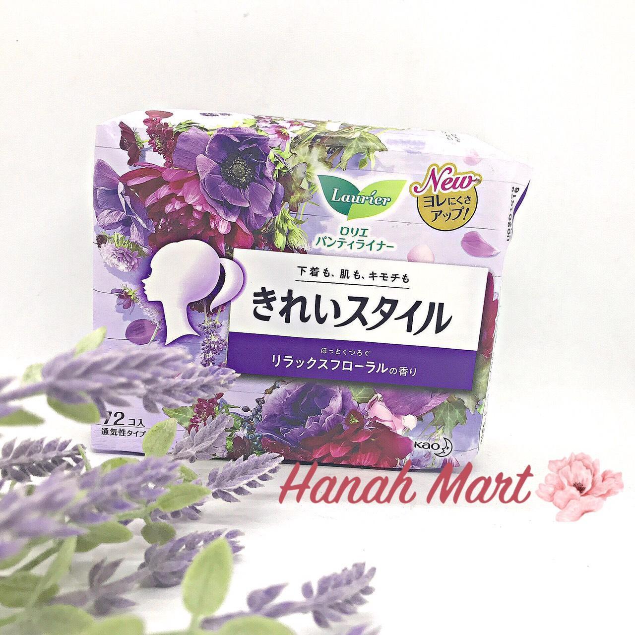 Băng vệ sinh hàng ngày Laurier 72 miếng hương nước hoa nội địa Nhật Bản bao bì mới nhất nhập khẩu